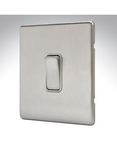 MK Aspect Brushed Steel 1 Gang Switch 20amp