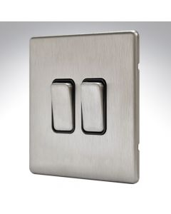 MK Aspect Brushed Steel 2 Gang Switch 20amp