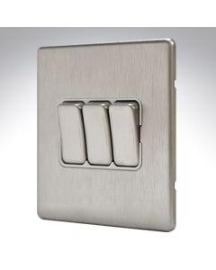 MK Aspect Brushed Steel 3 Gang Switch 10amp