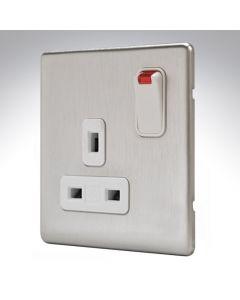 MK Aspect Brushed Steel Single Socket + Neon