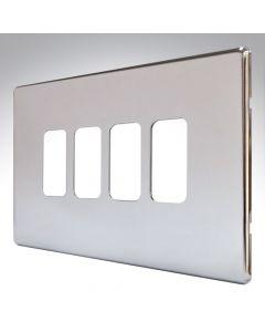 MK Aspect Grid Plate 4 Module Polished Chrome