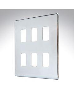 MK Aspect Grid Plate 6 Module Polished Chrome