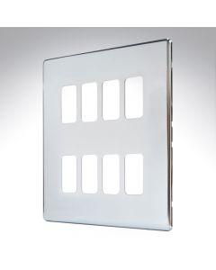 MK Aspect Grid Plate 8 Module Polished Chrome