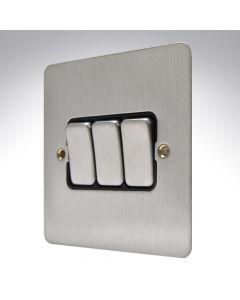 MK Edge Brushed Steel Switch 3 Gang 10amp