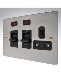MK Edge Brushed Steel Cooker Switch & Socket