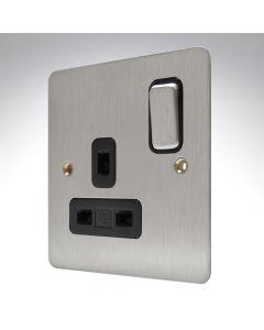 MK Edge Brushed Steel Single Socket