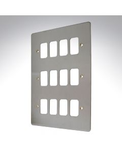 MK Edge Grid Plate 12 Module Brushed Steel