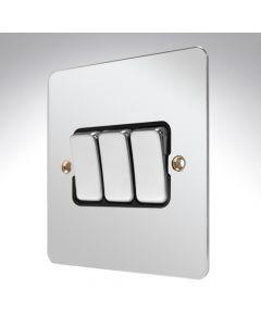 MK Edge Polished Chrome Switch 3 Gang 10amp