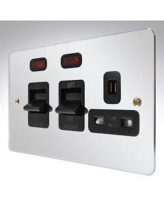 MK Edge Polished Chrome Cooker Switch + Socket