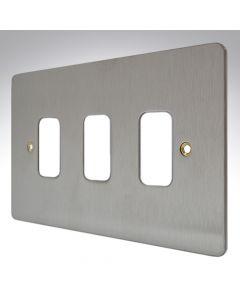 MK Edge Grid Plate 3 Module Brushed Steel