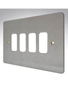 MK Edge Grid Plate 4 Module Brushed Steel