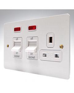 MK Edge White Metal Cooker Switch & Socket