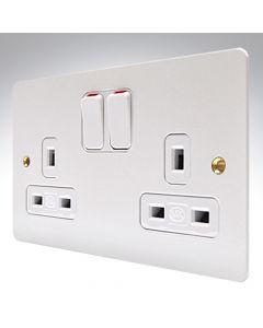 MK Edge White Metal Double Socket