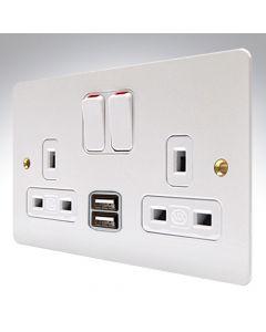 MK Edge White Metal Double USB Socket