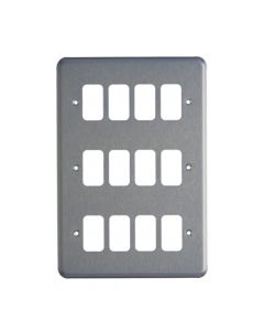 MK Grid 12 Module Frontplate Brushed Chrome