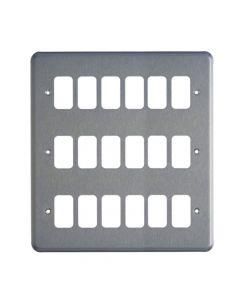 MK Grid 18 Module Frontplate Brushed Chrome