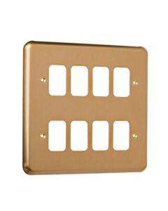 MK Grid 8 Module Frontplate Satin Gold