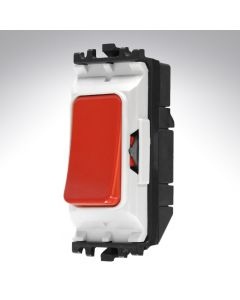 MK Grid Switch Red 1 Way Double Pole Push Make 20A