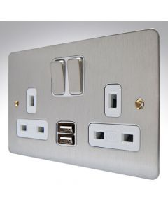 MK Edge Brushed Steel Double USB Socket