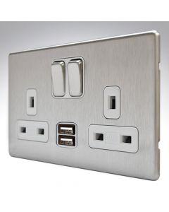MK Aspect Brushed Steel USB Double Socket