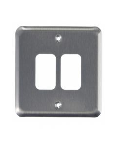 MK Grid 2 Module Frontplate Brushed Chrome