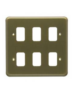 MK Grid 6 Module Frontplate Satin Gold