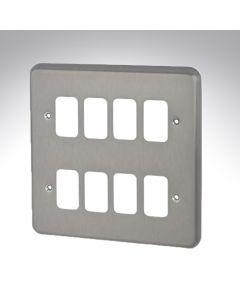 MK Grid 8 Module Frontplate Brushed Chrome