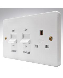 MK Flush 45a Double Pole Switch + 13a Socket