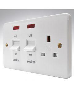 MK Flush 45a DP Switch + 13a Socket + Neons