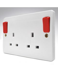 MK Double Socket Red Outside Switches