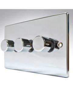 Hartland  Polished Chrome LED Dimmer 3G 2W 100w
