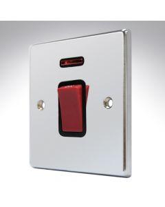 Hartland Chrome 45a Double Pole Switch + Neon
