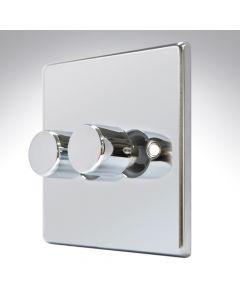 Hartland  Polished Chrome LED Dimmer 2G 2W 100w