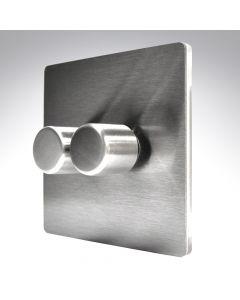 Sheer CFX Satin Steel LED Dimmer 2G 2W 100w