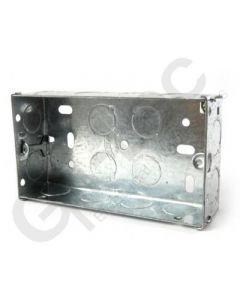 Flush 2 Gang Steel Socket Box 35mm