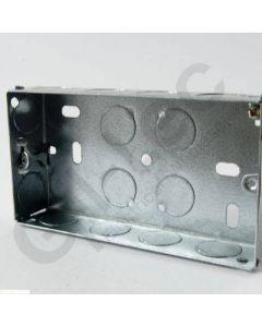 Flush 2 Gang Steel Socket Box 25mm