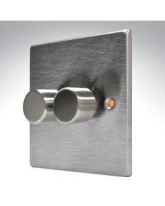 Hartland Stainless Steel 2 Gang Dimmer 400w