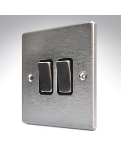 Hartland Stainless Steel 2 Gang Intermediate Switch