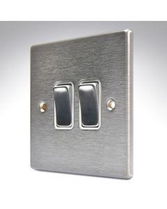 Hartland Stainless Steel 2 Gang Light Switch