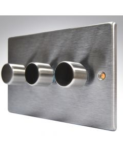 Hartland Stainless Steel 3 Gang Dimmer 400w