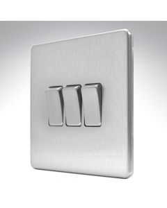 10A Switch 3 Gang 2 Way Brushed Steel