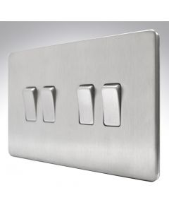 10A Switch 4 Gang 2 Way Brushed Steel