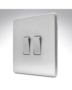 10A Switch 2 Gang 2 Way Brushed Steel