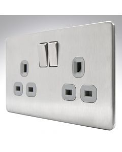 13A Switched Socket 2 Gang Brushed Steel