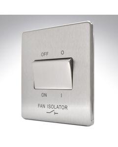 10A Switch 3 Pole Fan Isolator Brushed Steel