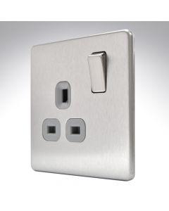 13A Switched Socket 1 Gang Brushed Steel