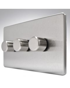 Dimmer 3 Gang 2 Way 200W Brushed Steel